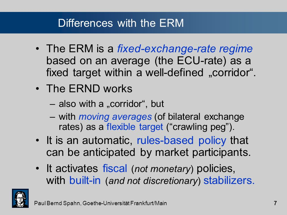 """Paul Bernd Spahn, Goethe-Universität Frankfurt/Main7 The ERM is a fixed-exchange-rate regime based on an average (the ECU-rate) as a fixed target within a well-defined """"corridor ."""