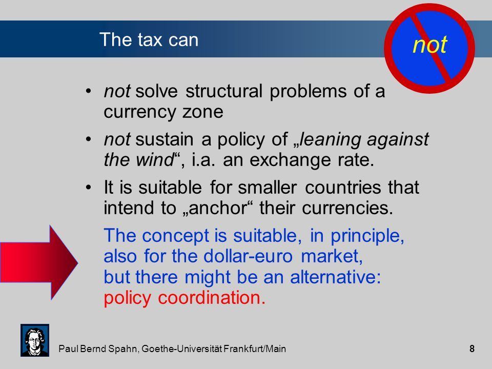 """Paul Bernd Spahn, Goethe-Universität Frankfurt/Main8 not solve structural problems of a currency zone not sustain a policy of """"leaning against the wind , i.a."""