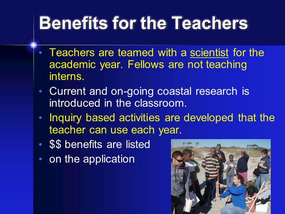 Responsibilities of the Teachers The main responsibility of a GK-12 teacher is to work with their Fellow to create a classroom where scientific learning is enhanced through the introduction of standards based inquiry lessons and activities.