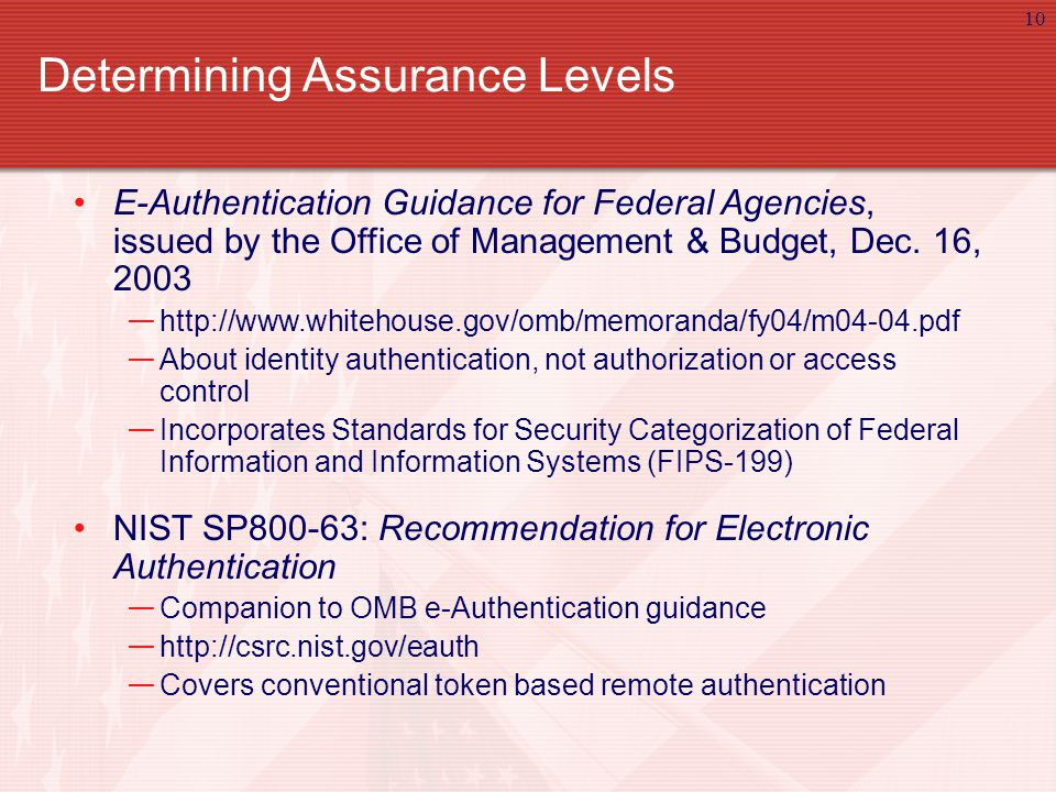 10 Determining Assurance Levels E-Authentication Guidance for Federal Agencies, issued by the Office of Management & Budget, Dec.