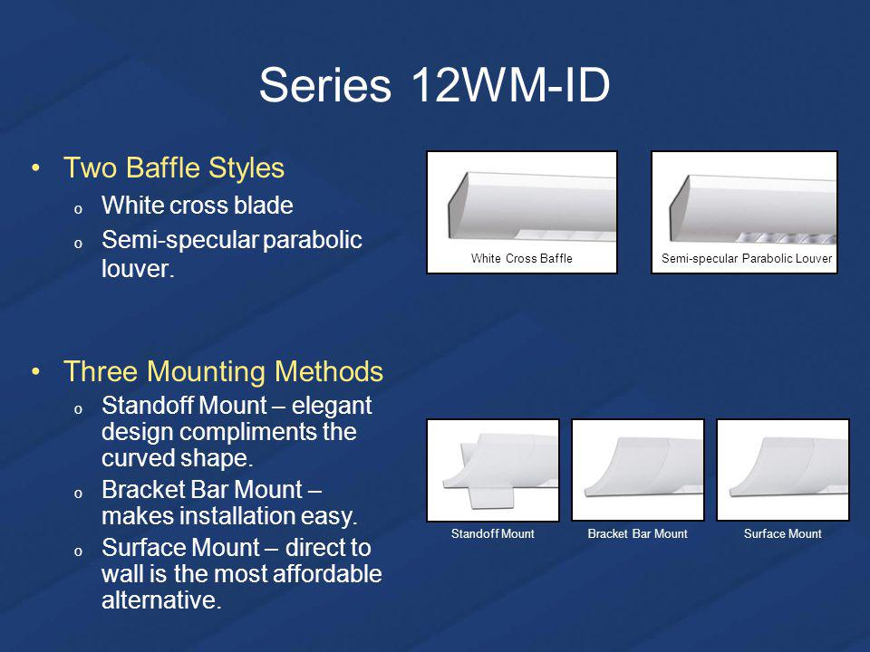 Series 12WM-ID Two Baffle Styles o White cross blade o Semi-specular parabolic louver.