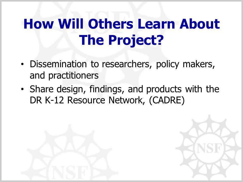 How Will Others Learn About The Project.