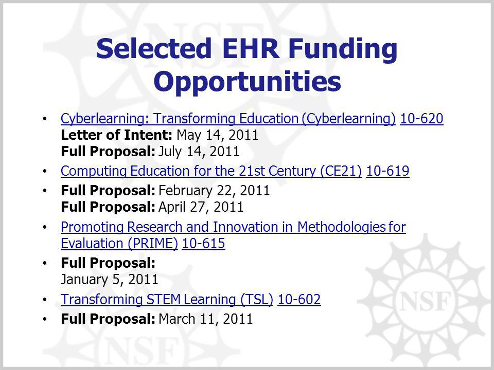 Selected EHR Funding Opportunities Cyberlearning: Transforming Education (Cyberlearning) 10-620 Letter of Intent: May 14, 2011 Full Proposal: July 14, 2011 Cyberlearning: Transforming Education (Cyberlearning)10-620 Computing Education for the 21st Century (CE21) 10-619 Computing Education for the 21st Century (CE21)10-619 Full Proposal: February 22, 2011 Full Proposal: April 27, 2011 Promoting Research and Innovation in Methodologies for Evaluation (PRIME) 10-615 Promoting Research and Innovation in Methodologies for Evaluation (PRIME)10-615 Full Proposal: January 5, 2011 Transforming STEM Learning (TSL) 10-602 Transforming STEM Learning (TSL)10-602 Full Proposal: March 11, 2011
