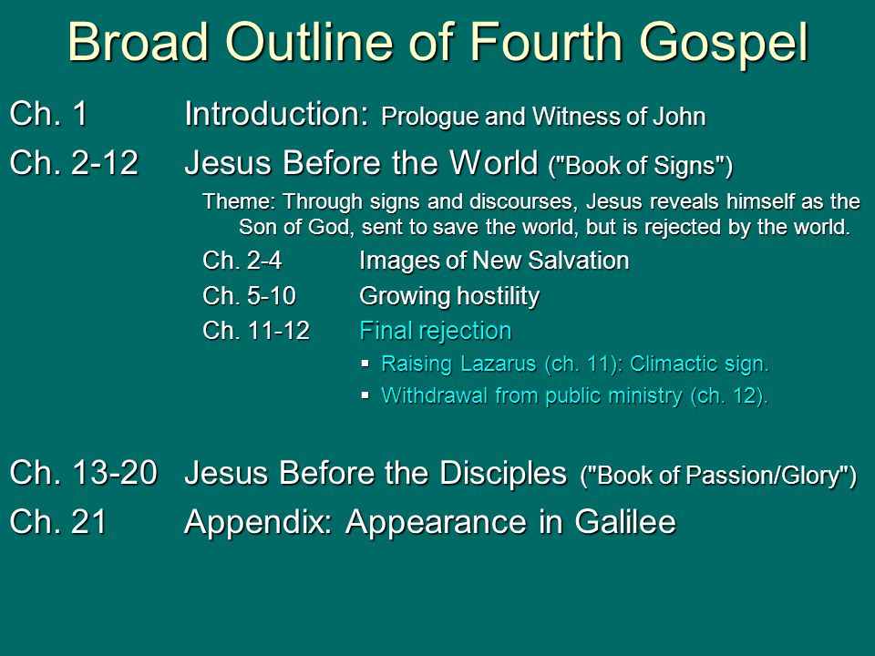 Broad Outline of Fourth Gospel Ch. 1Introduction: Prologue and Witness of John Ch. 2-12Jesus Before the World (