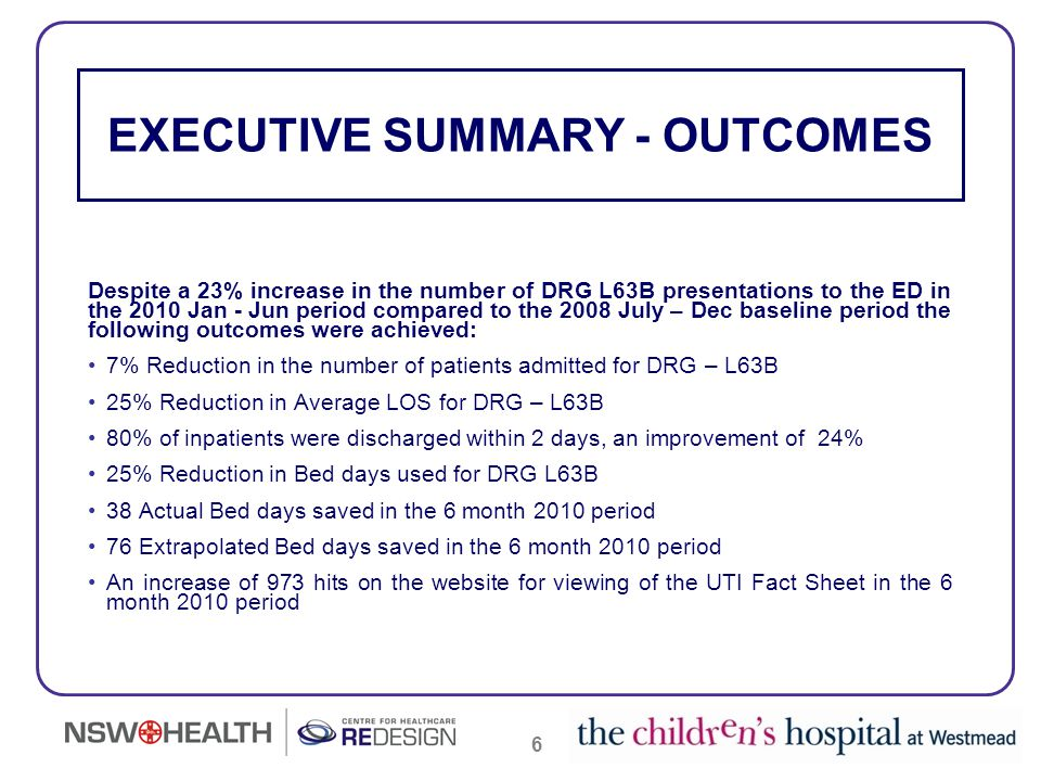 17 BED DAYS SAVED over 12 months 68 - Actual Bed Days saved over 12 months 148 - Extrapolated Bed Days saved over 12 months Evaluation of the impact of the Streamlining UTIs Project has now been done at the 6 month and 12 month point following the implementation of the projects Planned Model of Care for children with a Typical UTI.