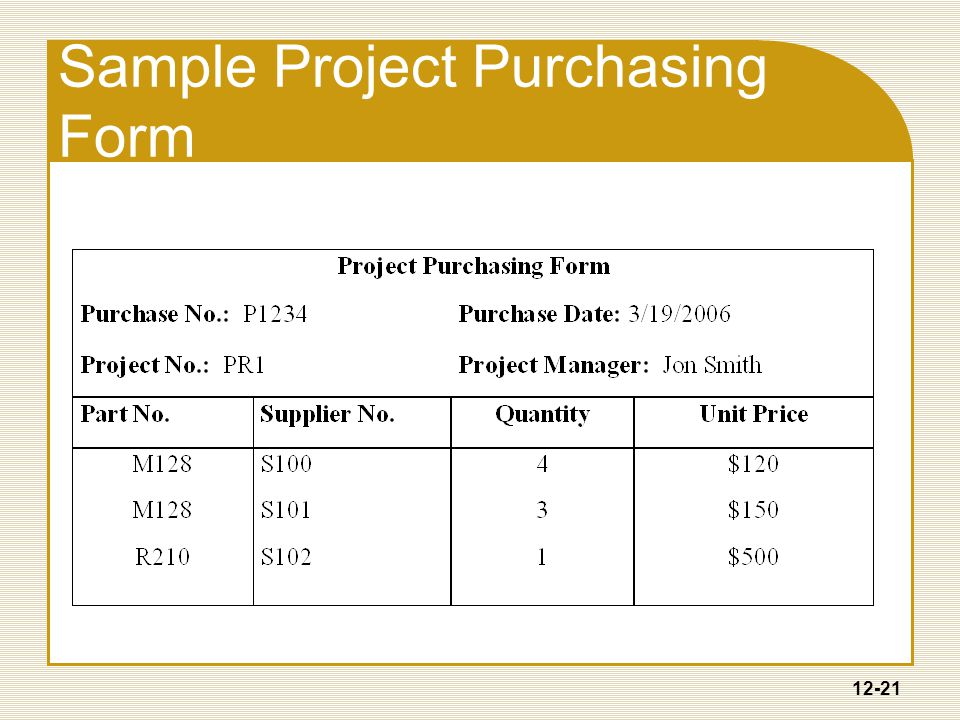 12-21 Sample Project Purchasing Form