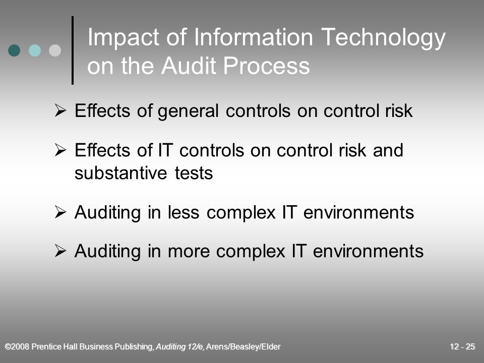 ©2008 Prentice Hall Business Publishing, Auditing 12/e, Arens/Beasley/Elder 12 - 25 Impact of Information Technology on the Audit Process  Effects of general controls on control risk  Effects of IT controls on control risk and substantive tests  Auditing in less complex IT environments  Auditing in more complex IT environments