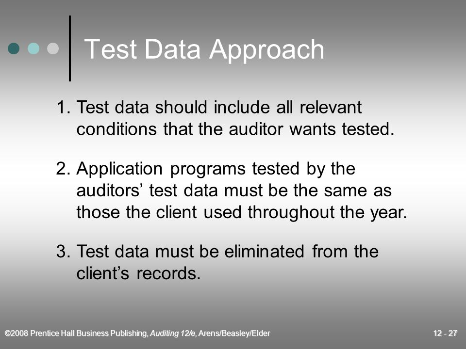©2008 Prentice Hall Business Publishing, Auditing 12/e, Arens/Beasley/Elder 12 - 27 Test Data Approach 1.