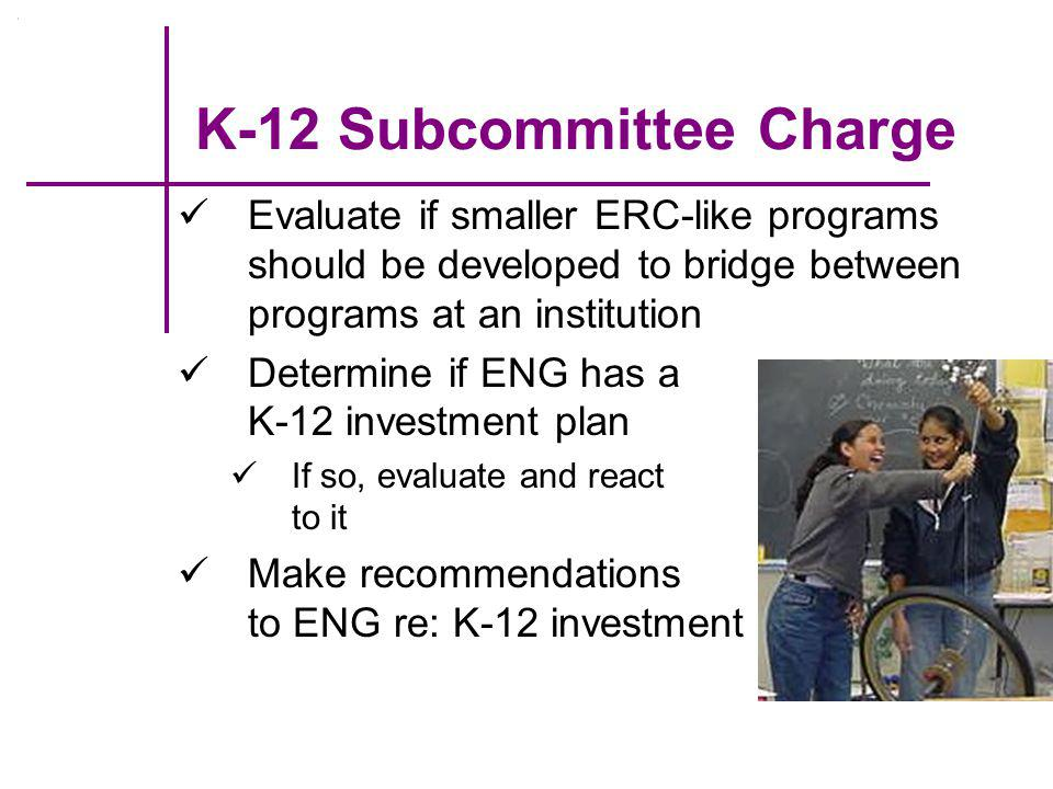 K-12 Subcommittee Charge Evaluate if smaller ERC-like programs should be developed to bridge between programs at an institution Determine if ENG has a K-12 investment plan If so, evaluate and react to it Make recommendations to ENG re: K-12 investment