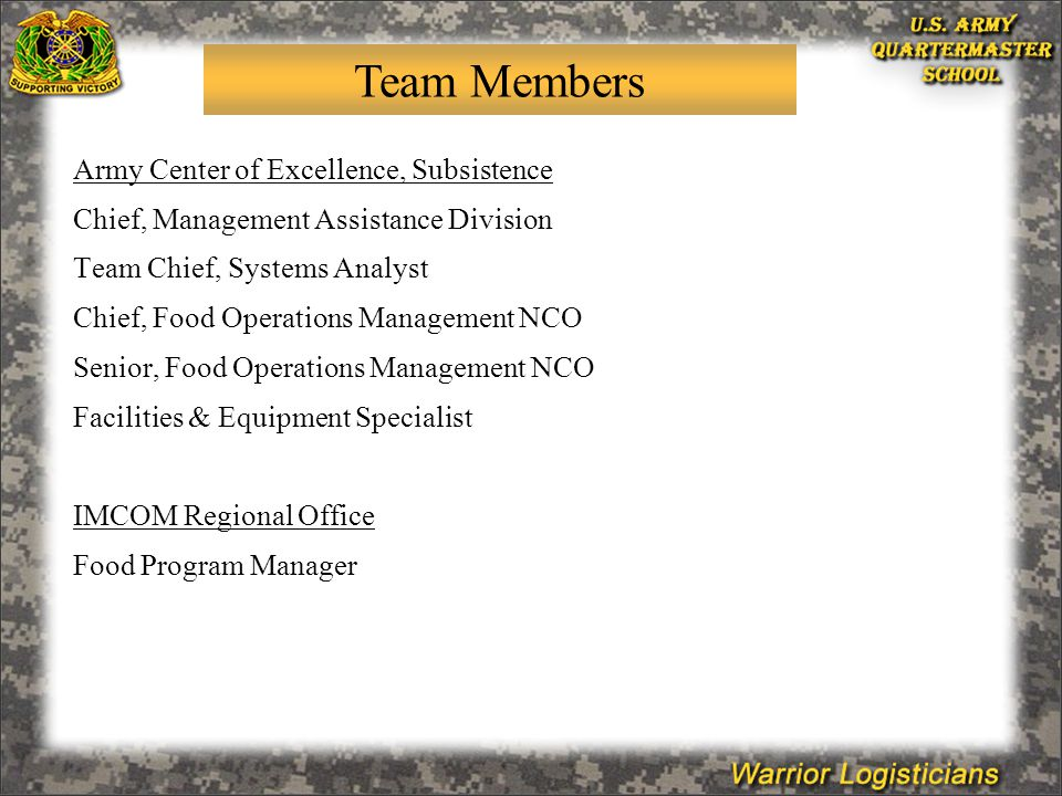 Army Center of Excellence, Subsistence Chief, Management Assistance Division Team Chief, Systems Analyst Chief, Food Operations Management NCO Senior, Food Operations Management NCO Facilities & Equipment Specialist IMCOM Regional Office Food Program Manager Team Members