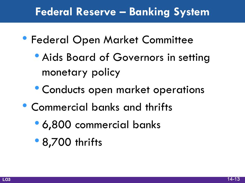 Federal Reserve – Banking System Federal Open Market Committee Aids Board of Governors in setting monetary policy Conducts open market operations Commercial banks and thrifts 6,800 commercial banks 8,700 thrifts LO3 14-13