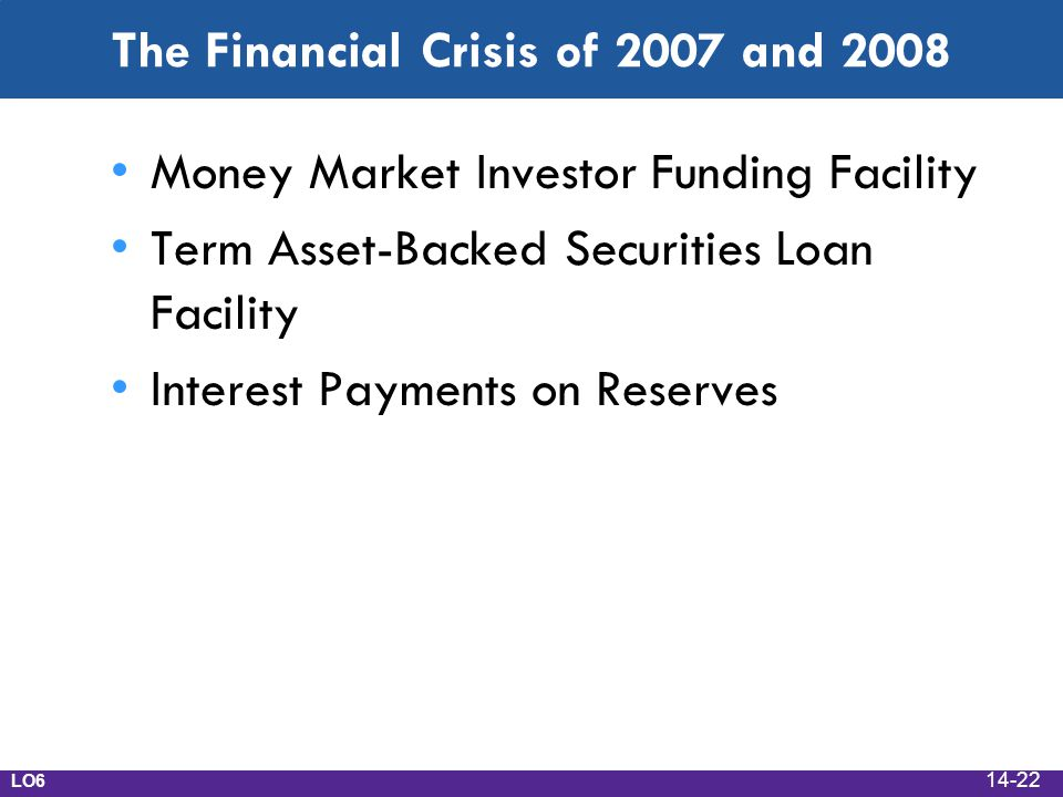The Financial Crisis of 2007 and 2008 Money Market Investor Funding Facility Term Asset-Backed Securities Loan Facility Interest Payments on Reserves LO6 14-22