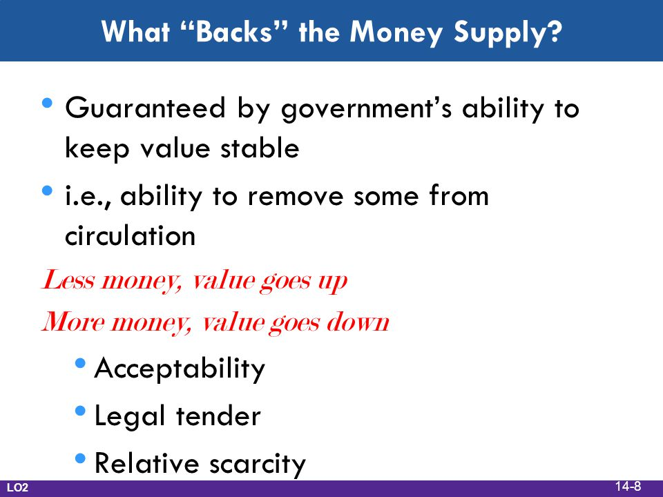 """What """"Backs"""" the Money Supply? Guaranteed by government's ability to keep value stable i.e., ability to remove some from circulation Less money, value"""