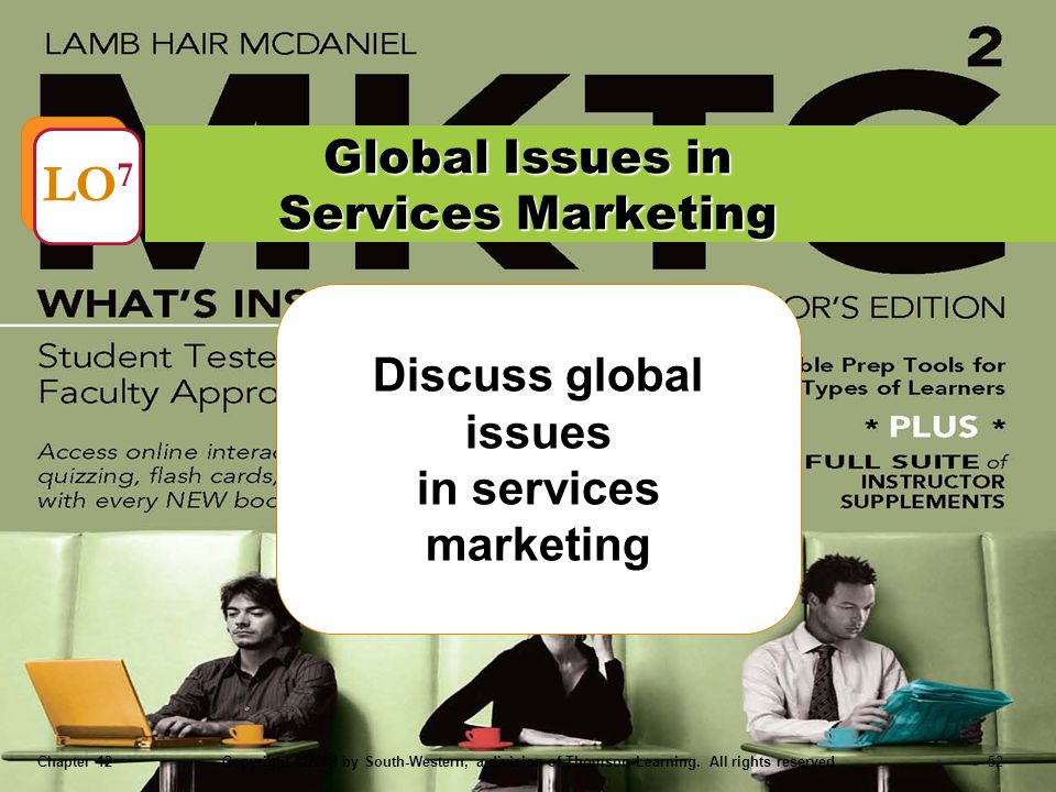 Chapter 12Copyright ©2008 by South-Western, a division of Thomson Learning. All rights reserved 52 Discuss global issues in services marketing Global