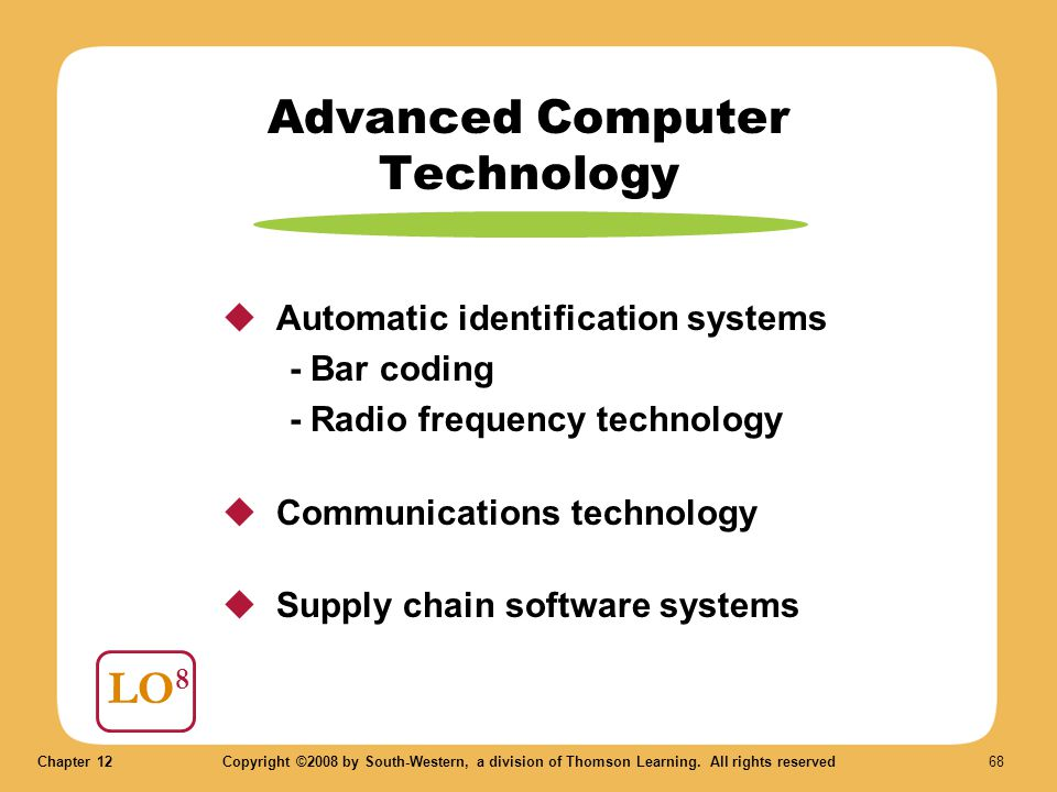 Chapter 12Copyright ©2008 by South-Western, a division of Thomson Learning. All rights reserved 68 Advanced Computer Technology LO 8  Automatic ident