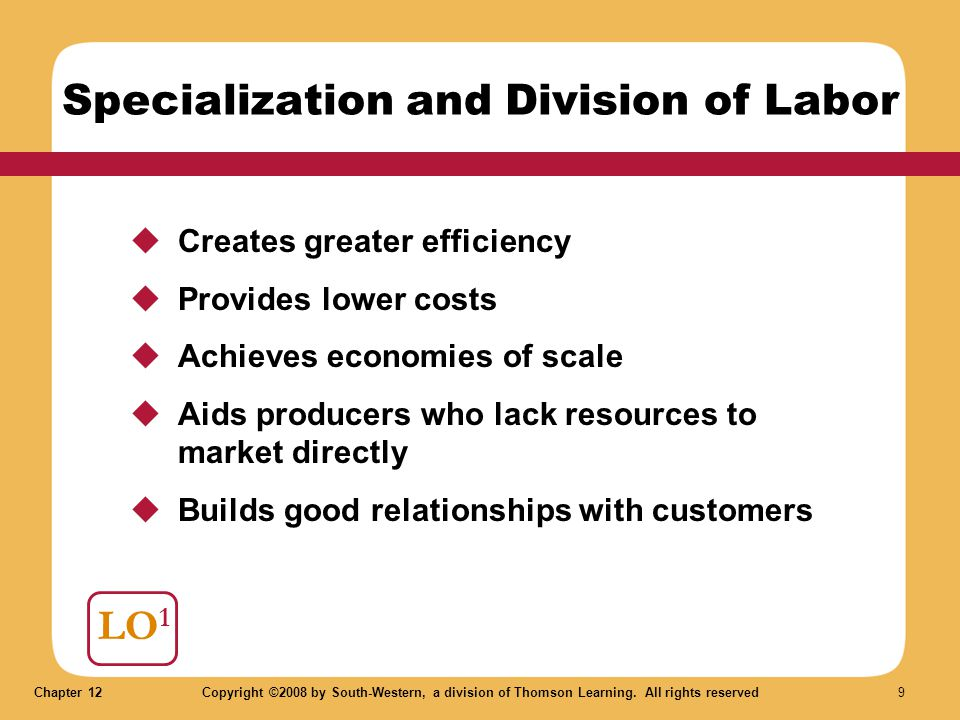 Chapter 12Copyright ©2008 by South-Western, a division of Thomson Learning. All rights reserved 9 LO 1 Specialization and Division of Labor  Creates