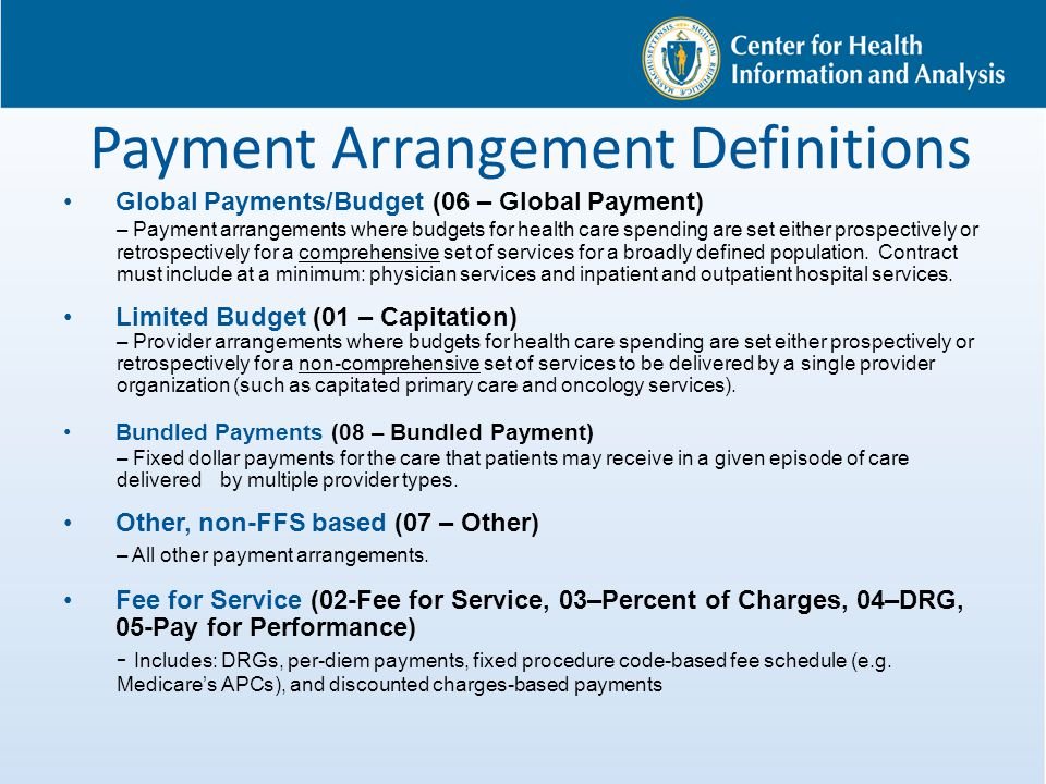 Payment Arrangement Definitions Global Payments/Budget (06 – Global Payment) – Payment arrangements where budgets for health care spending are set eit