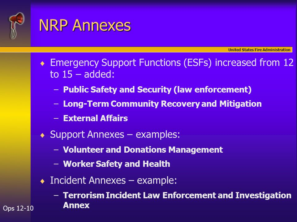 United States Fire Administration Ops 12-10 NRP Annexes   Emergency Support Functions (ESFs) increased from 12 to 15 – added: – –Public Safety and Security (law enforcement) – –Long-Term Community Recovery and Mitigation – –External Affairs   Support Annexes – examples: – –Volunteer and Donations Management – –Worker Safety and Health   Incident Annexes – example: – –Terrorism Incident Law Enforcement and Investigation Annex