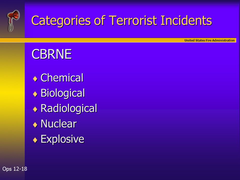 United States Fire Administration Ops 12-18 Categories of Terrorist Incidents CBRNE  Chemical  Biological  Radiological  Nuclear  Explosive