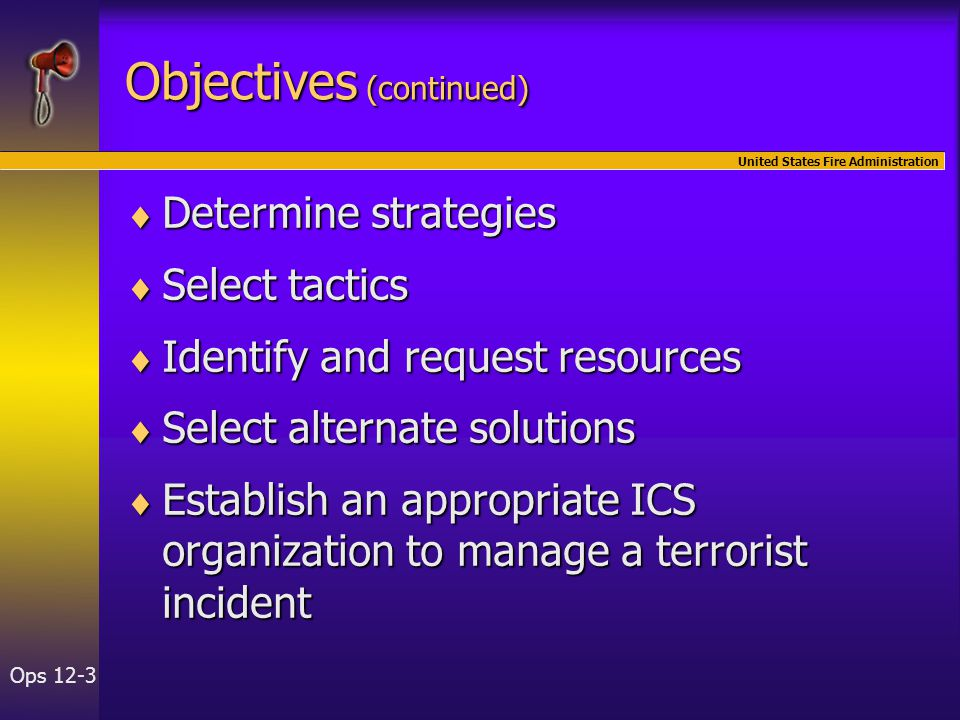 United States Fire Administration Ops 12-34 Module Summary  Pre-incident planning  Written action plans  Operational considerations  Law enforcement considerations  Tactical objectives
