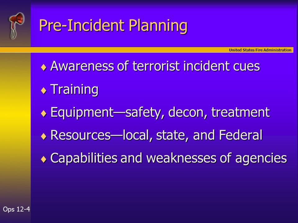 United States Fire Administration Ops 12-4 Pre-Incident Planning  Awareness of terrorist incident cues  Training  Equipment—safety, decon, treatment  Resources—local, state, and Federal  Capabilities and weaknesses of agencies