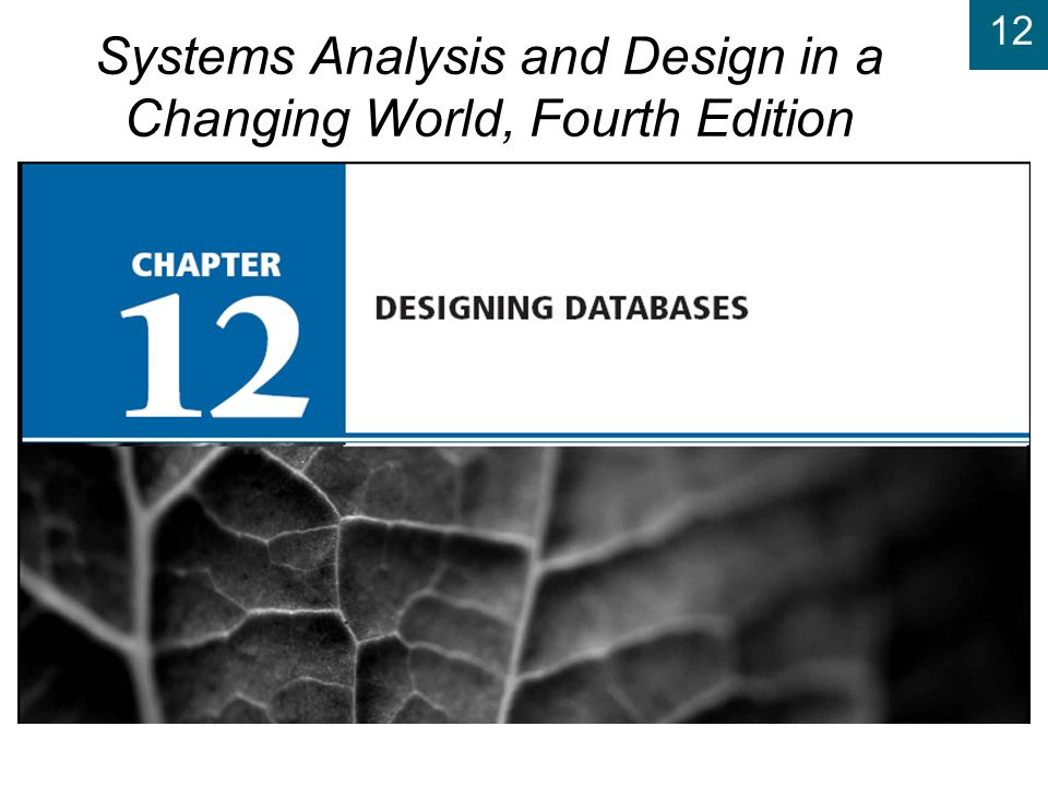 12 Systems Analysis and Design in a Changing World, 4th Edition 12 Designing Relational Databases ( continued ) u Define referential integrity constraints u Evaluate schema quality and make necessary improvements u Choose appropriate data types and value restrictions (if necessary) for each field