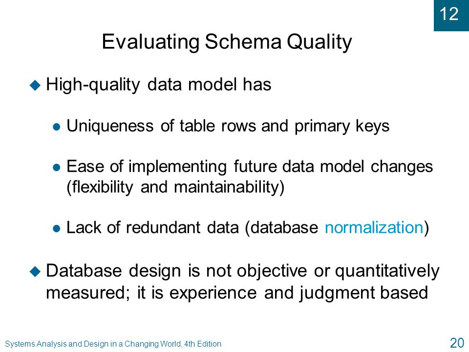 12 Systems Analysis and Design in a Changing World, 4th Edition 20 Evaluating Schema Quality u High-quality data model has l Uniqueness of table rows