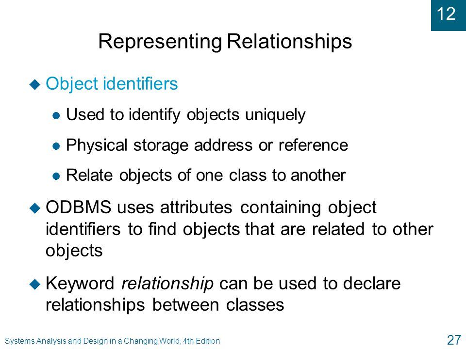 12 Systems Analysis and Design in a Changing World, 4th Edition 27 Representing Relationships u Object identifiers l Used to identify objects uniquely