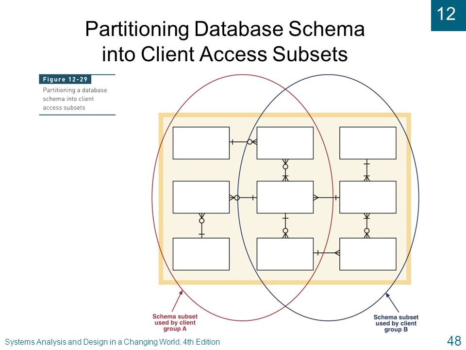 12 Systems Analysis and Design in a Changing World, 4th Edition 48 Partitioning Database Schema into Client Access Subsets