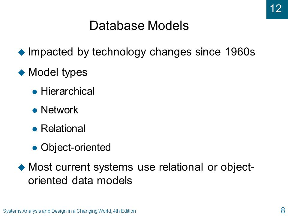 12 Systems Analysis and Design in a Changing World, 4th Edition 8 Database Models u Impacted by technology changes since 1960s u Model types l Hierarc