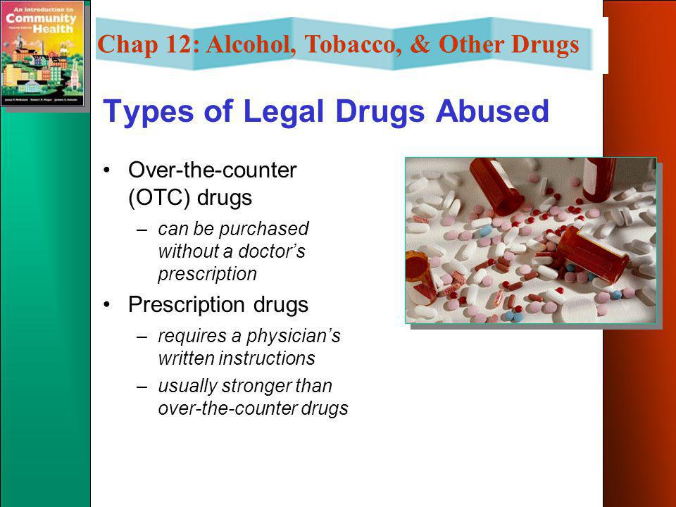 Chap 12: Alcohol, Tobacco, & Other Drugs Types of Legal Drugs Abused Nicotine –use occurs in the form of cigarette, cigar, pipe smoking, chewing tobac