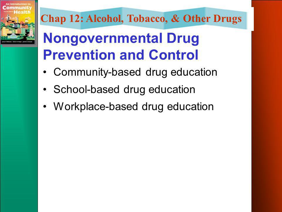 Chap 12: Alcohol, Tobacco, & Other Drugs Official Agencies & Programs State government –influence the outcome of drug wars through advocacy, administr