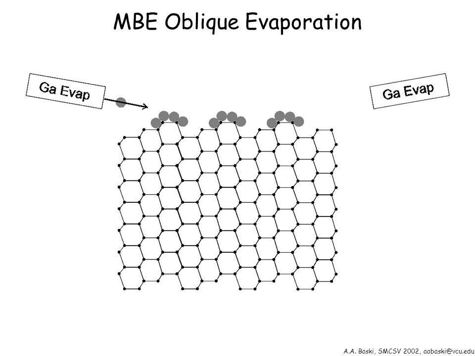 A.A. Baski, SMCSV 2002, aabaski@vcu.edu MBE Oblique Evaporation