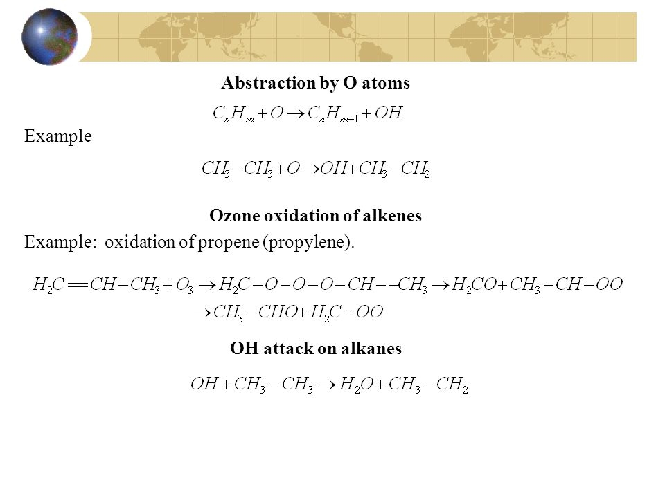 Abstraction by O atoms Example Ozone oxidation of alkenes Example: oxidation of propene (propylene).