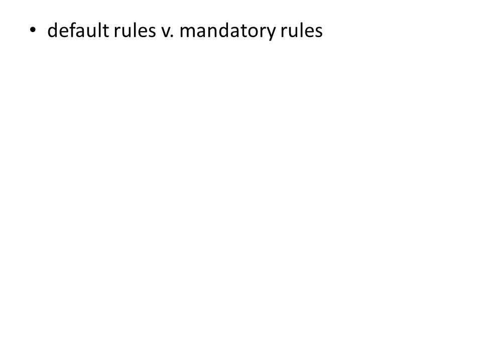 default rules v. mandatory rules