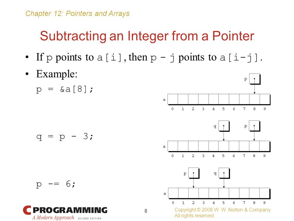 Chapter 12: Pointers and Arrays Subtracting an Integer from a Pointer If p points to a[i], then p - j points to a[i-j]. Example: p = &a[8]; q = p - 3;