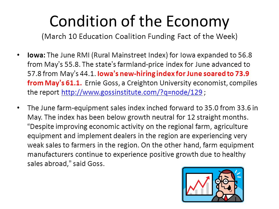 Condition of the Economy (March 10 Education Coalition Funding Fact of the Week) Iowa: The June RMI (Rural Mainstreet Index) for Iowa expanded to 56.8 from May's 55.8.