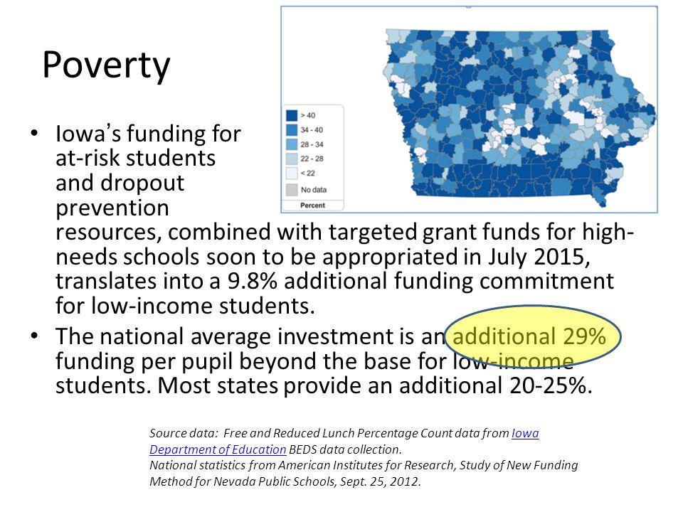 Poverty Iowa's funding for at-risk students and dropout prevention resources, combined with targeted grant funds for high- needs schools soon to be appropriated in July 2015, translates into a 9.8% additional funding commitment for low-income students.