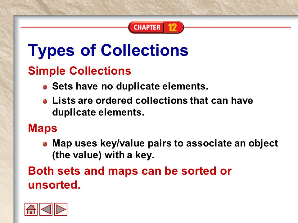 12 Types of Collections Simple Collections Sets have no duplicate elements.