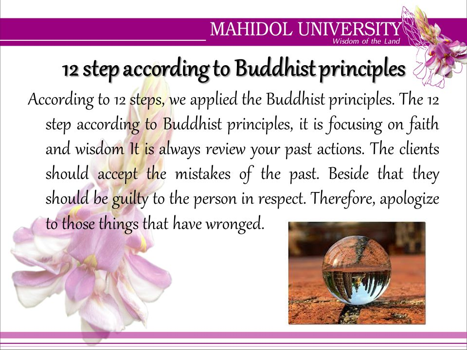 12 step according to Buddhist principles According to 12 steps, we applied the Buddhist principles. The 12 step according to Buddhist principles, it i