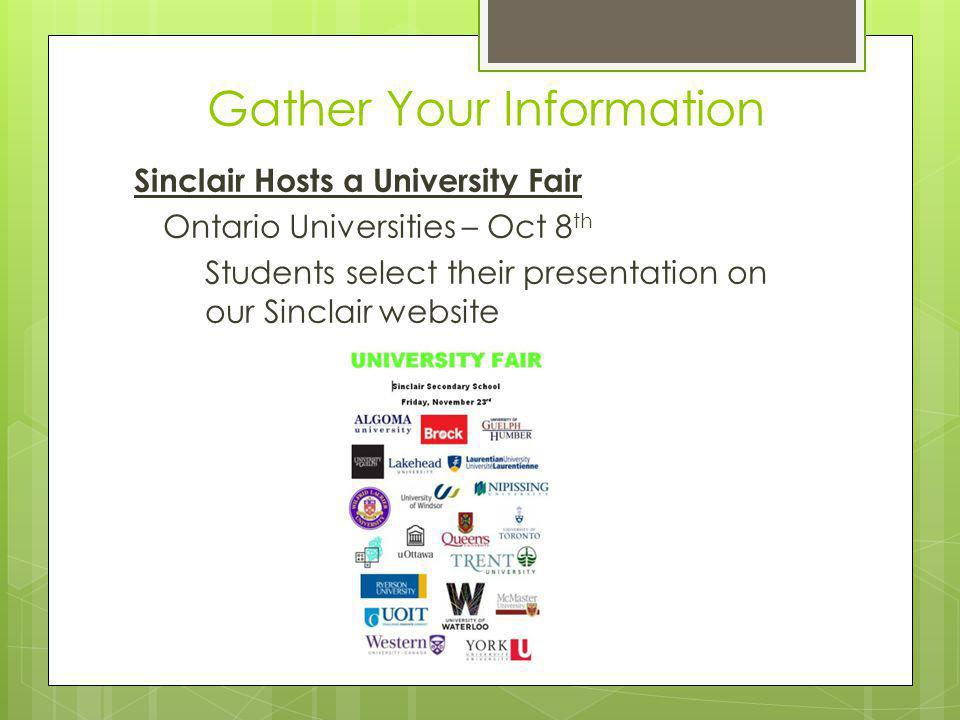 Gather Your Information Sinclair Hosts a University Fair Ontario Universities – Oct 8 th Students select their presentation on our Sinclair website