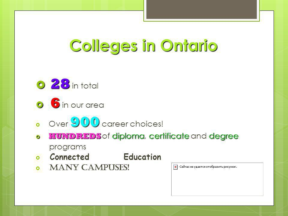 Colleges in Ontario  28  28 in total  6  6 in our area 900  Over 900 career choices.