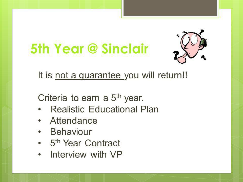 5th Year @ Sinclair It is not a guarantee you will return!.