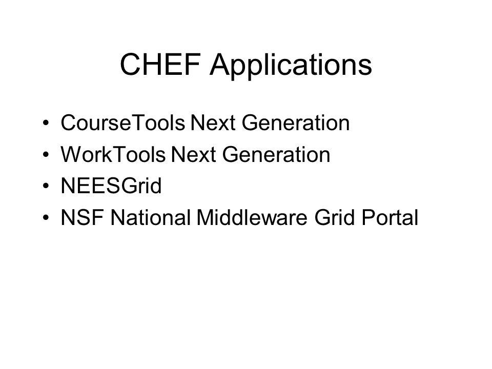 CHEF Applications CourseTools Next Generation WorkTools Next Generation NEESGrid NSF National Middleware Grid Portal