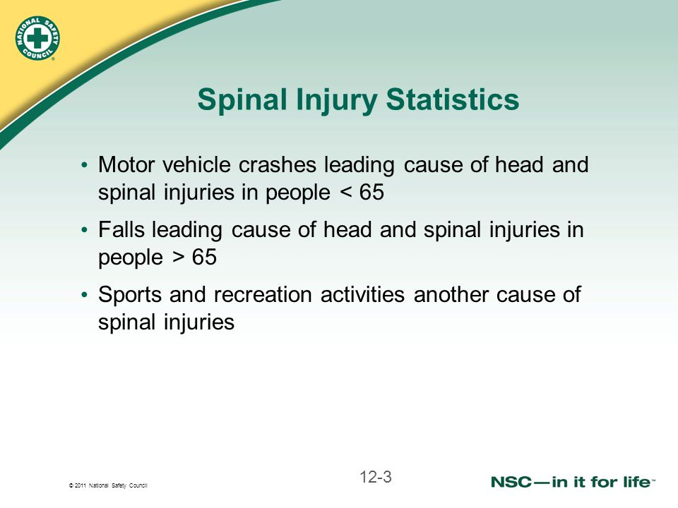 © 2011 National Safety Council Spinal Injury Statistics Motor vehicle crashes leading cause of head and spinal injuries in people < 65 Falls leading cause of head and spinal injuries in people > 65 Sports and recreation activities another cause of spinal injuries 12-3