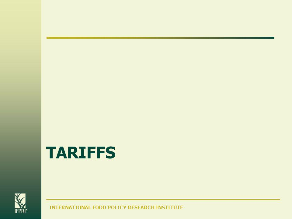 INTERNATIONAL FOOD POLICY RESEARCH INSTITUTE TARIFFS