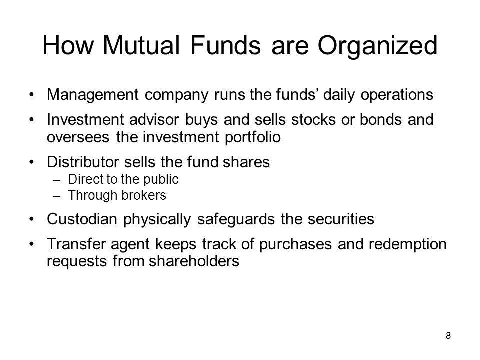 19 Hedge Funds Not really mutual funds; private limited partnerships Not regulated by mutual fund regulations General partner runs fund and takes 10-20% of profits; limited partners are investors Only sold to accredited investors —net worth greater than $1,000,000 and/or annual income over $200,000 Use arbitrage strategies, options, short sales and other complex strategies