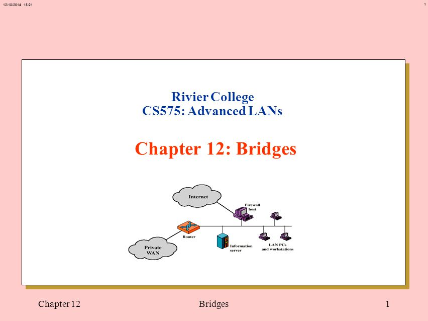 1 12/18/2014 15:21 Chapter 12Bridges1 Rivier College CS575: Advanced LANs Chapter 12: Bridges