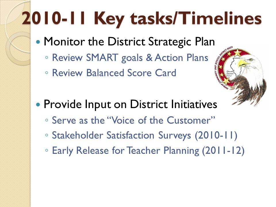 2010-11 Key tasks/Timelines Monitor the District Strategic Plan ◦ Review SMART goals & Action Plans ◦ Review Balanced Score Card Provide Input on District Initiatives ◦ Serve as the Voice of the Customer ◦ Stakeholder Satisfaction Surveys (2010-11) ◦ Early Release for Teacher Planning (2011-12)