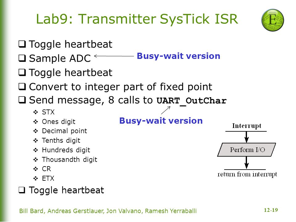 12-19 Bill Bard, Andreas Gerstlauer, Jon Valvano, Ramesh Yerraballi Lab9: Transmitter SysTick ISR  Toggle heartbeat  Sample ADC  Toggle heartbeat  Convert to integer part of fixed point  Send message, 8 calls to UART_OutChar  STX  Ones digit  Decimal point  Tenths digit  Hundreds digit  Thousandth digit  CR  ETX  Toggle heartbeat Busy-wait version